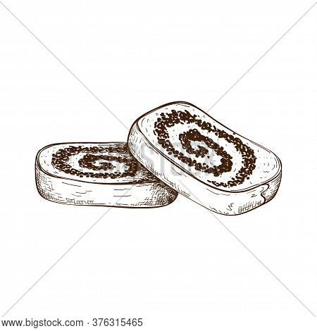 Hand Drawn Slices Of Poppy Seed Cake Or Strudel Isolated On White. Bun Or Roll Filled With Poppy See