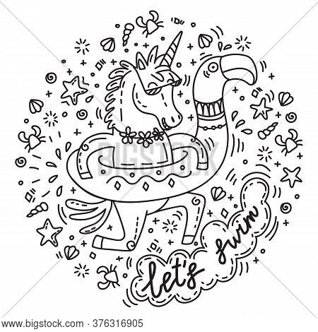 Funny Unicorn Goes Swimming With Circle For The Pool In Shape Of Flamingo. Vector Humor Character In