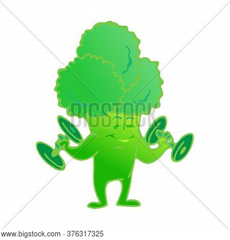 Cute Broccoli Cartoon Character Posing And Demonstrating Its Muscles. Healthy Food.