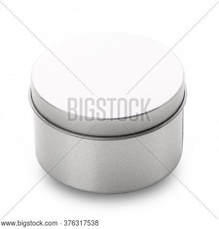 Round Metal Box On A White Background.