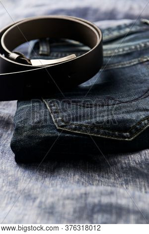 Close Up Of Jeans Trousers. Copy Space.
