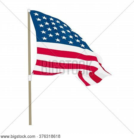 Usa Flag Waving On The Wind, Vector Illustration
