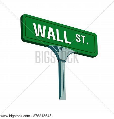Wall Street Sign In New York, Vector Illustration
