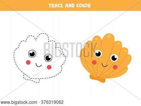 Trace And Color Cute Kawaii Seashell. Writing Skills.