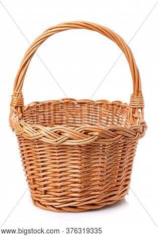 Original Blank Wicker Basket Isolated On White.