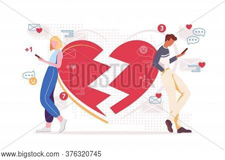 Couple Social Media Addiction Illustration. Networking Destroys Relationship Concept. Two People Cha