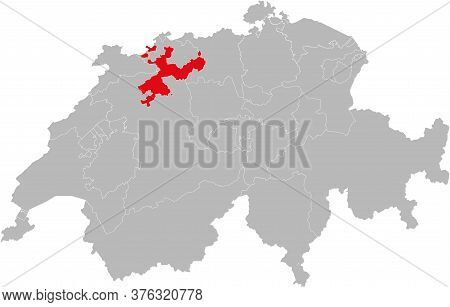 Solothurn Canton Isolated On Switzerland Map. Gray Background. Backgrounds And Wallpapers.