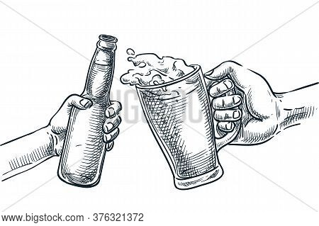 Human Hand Cheers With Beer Glass And Bottle. Vector Hand Drawn Sketch Illustration. Octoberfest Bee