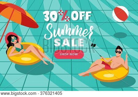 Summer Sale Banner Poster Design Template. People Swim In Swimming Pool, Top View Vector Flat Cartoo