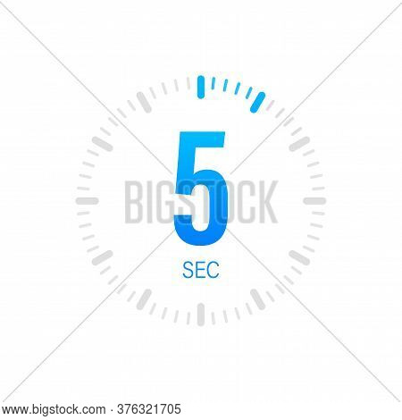 The 5 Second, Timer, Stopwatch Vector Icon. Stopwatch Icon In Flat Style. Vector Stock Illustration.