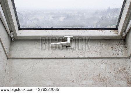 Wooden Mansard Or Skylight Window On Attic. Attic Renovation And Insulation