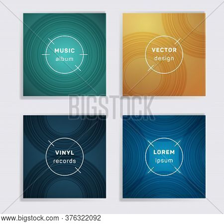 Modern Plate Music Album Covers Collection. Semicircle Curve Lines Patterns. Simple Plate Music Reco