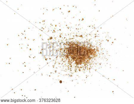 Seasoning Coriander Powder On White Background Isolation, Top View