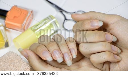 Manicure. Long Natural Nails. Pale, Brittle, Bluish Nails. Do Your Own Manicure At Home. Self-care.