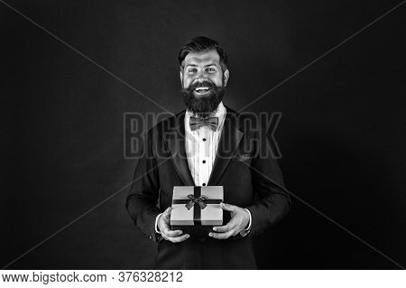 Celebrate Holiday With Perfect Present. Happy Businessman With Present. Bearded Man Hold Present Box