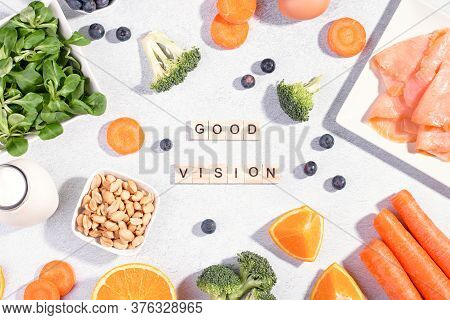 Foods That Help Maintain Eyes Healthy, Supplements For Keeping Good Vision, Vitamins For Eyes. Assor