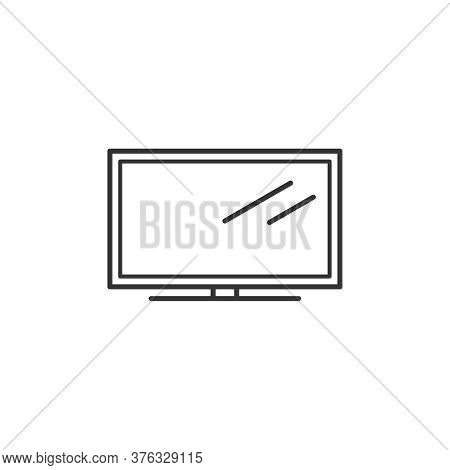 Tv Household Domestic Appliances Thin Line Icon Outline Vector Symbol. Television Set Linear Sign Is