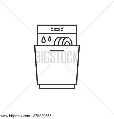 Dishwasher Kitchen Household Domestic Appliances Thin Line Icon Outline Vector Symbol. Dishwasher Li