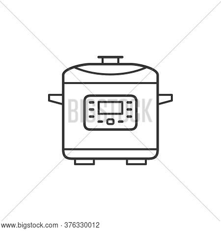 Slow Cooker Kitchen Household Domestic Appliances Thin Line Icon Outline Vector Symbol. Multicooker