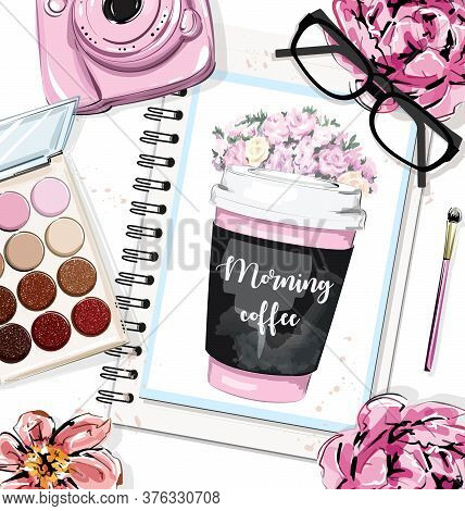 Hand Drawn Table Set With Papers, Drawing Coffee Cup, Flowers, Eye Shadows, Pink Camera, Brush And E