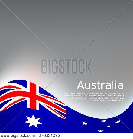 Australia Wavy Glowing Flag On A Gray Glossy Background. National Poster Design. Business Booklet. S