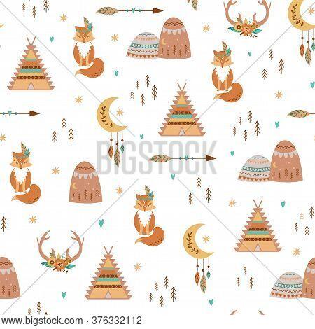 Tribal Kids Pattern Teepee, Arrow, Feathers, Moon, Fox, Aztec Mountains, Deer Horns, Flowers. Cute B