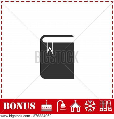 Book With Bookmark Icon Flat. Simple Vector Symbol And Bonus Icon