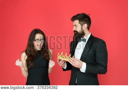 Promotion And Reward. Prom Queen. Bearded Man Sexy Girl. Royal Party. Prom Couple In Formal Style. P