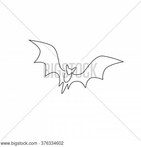 Single Continuous Line Drawing Of Cute Flying Bat For Nature Lover Organization Logo Identity. Noctu