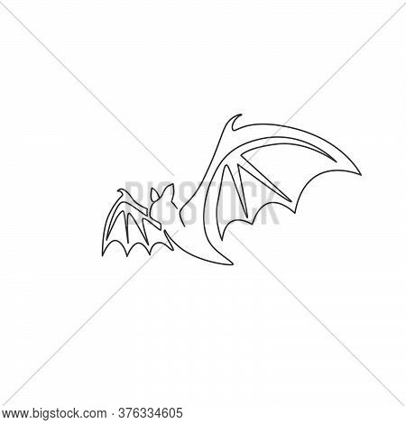 One Continuous Line Drawing Of Scary Bat For Ghost House Logo Identity. Evil Mammal Animal Mascot Co