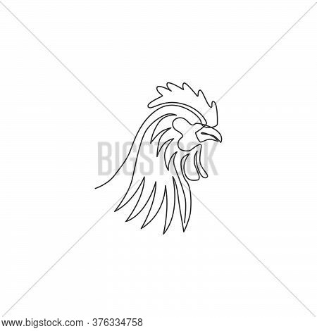 One Single Line Drawing Of Rooster Animal For Company Business Logo Identity. Cock Bird Mascot Conce