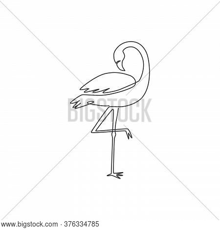 Single Continuous Line Drawing Of Beautiful Flamingo For National Zoo Logo. Flamingo Bird Mascot Con