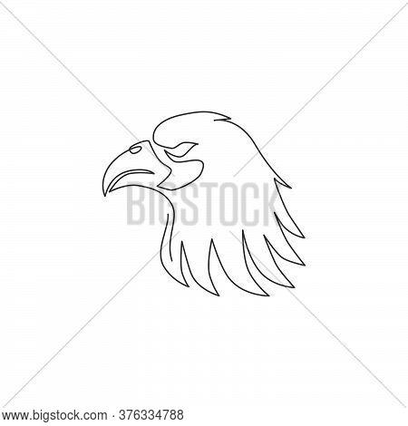 Single Continuous Line Drawing Of Heroic Eagle Head For E-sport Team Logo Identity. Falcon Bird Masc