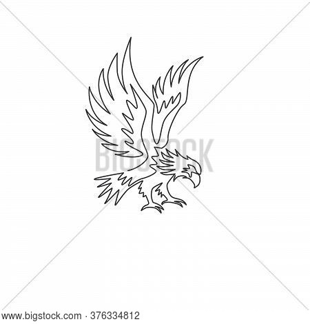 One Continuous Line Drawing Of Strong Eagle For Delivery Service Logo Identity. Hawk Mascot Concept