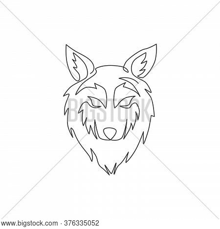 One Single Line Drawing Of Dangerous Wolf Head For Hunter Club Logo Identity. Strong Wolves Mascot E