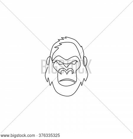 One Single Line Drawing Of Gorilla Head For Company Business Logo Identity. Strong Ape Animal Face M