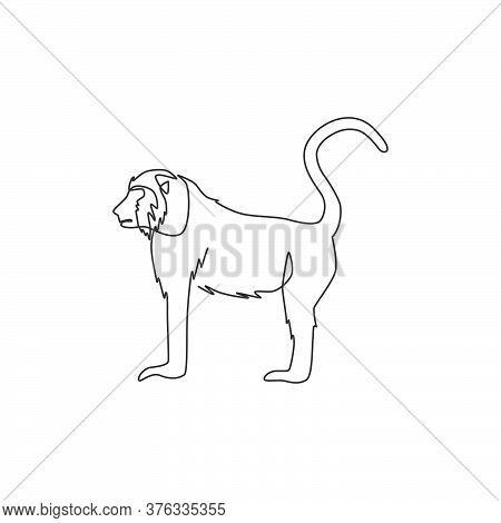 Single Continuous Line Drawing Of Walking Baboon For National Zoo Logo Identity. Cute Primate Animal