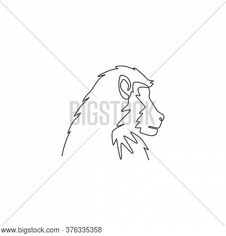 One Continuous Line Drawing Of Baboon Head For Conservation Jungle Logo Identity. Primate Animal Mas
