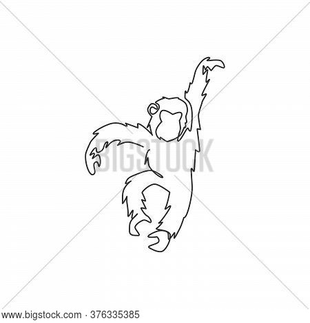 Single Continuous Line Drawing Of Cute Jumping Chimpanzee For National Zoo Logo Identity. Adorable P