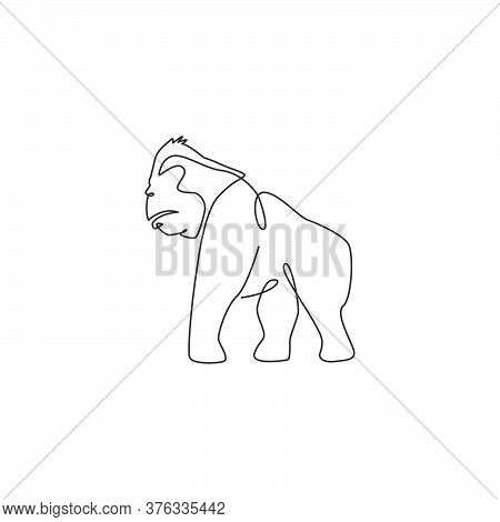 One Continuous Line Drawing Of Gorilla For National Park Logo Identity. Primate Animal Portrait Masc