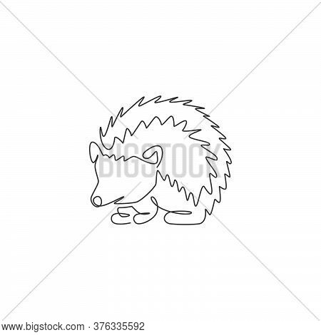 One Continuous Line Drawing Of Cute Little Hedgehog For Logo Identity. Mini Funny Spiky Rodent Anima