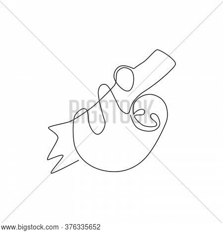 Single Continuous Line Drawing Of Slow Cute Sloth Hanging At Limb Tree For Logo Identity. Marsupial