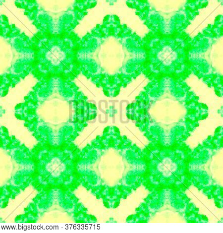 Vintage Delicate Tile. Watercolor Majolica Tile. Vintage Textile Print. Vivid Green Seamless  Tile J