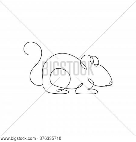 Single Continuous Line Drawing Of Little Cute Mouse For Logo Identity. Funny Mice Mammal Animal Masc