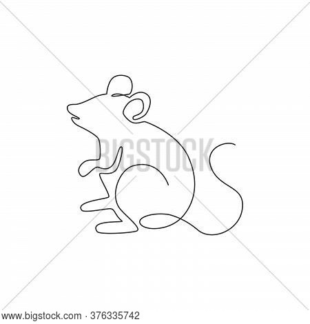 One Continuous Line Drawing Of Cute Standing Mouse For Logo Identity. Funny Rodent Animal Mascot Con