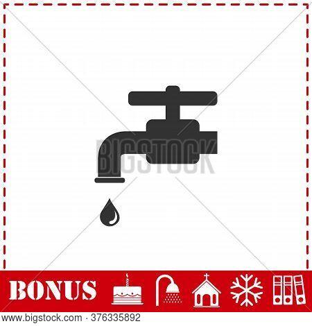 Faucet Icon Flat. Simple Vector Symbol And Bonus Icon