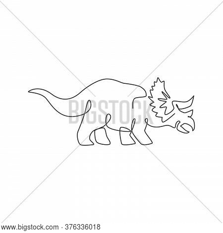 One Continuous Line Drawing Of Adorable Triceratops Prehistory Animal For Logo Identity. Dinosaurs M