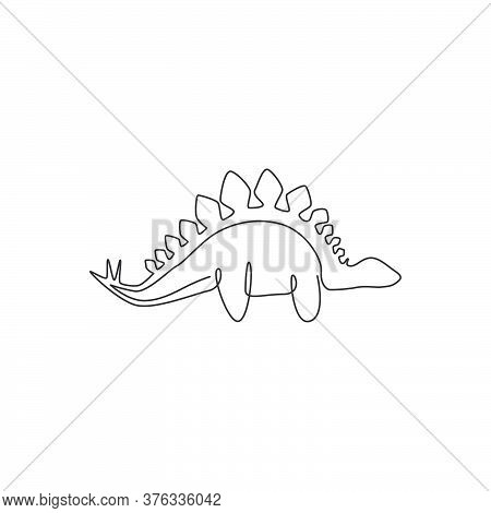 One Continuous Line Drawing Of Dinosaurs Animal For Logo Identity. Stegosaurus Mascot Concept For Pr