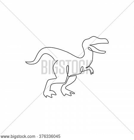 One Continuous Line Drawing Of Aggressive Raptor Animal For Logo Identity. Dinosaurs Mascot Concept