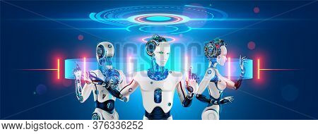 A Team Of Cyborg Robots Works With A Virtual 3d Interface In Cyberspace. An Anthropomorphic Bionic A